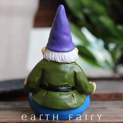 Yoga Gnome, Rear View, from The Miniature Fairy Garden Gnome Figurine Collection by Earth Fairy