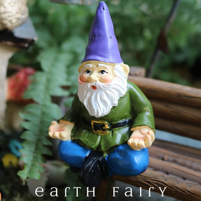 Yoga Gnome, Front View, from The Miniature Fairy Garden Gnome Figurine Collection by Earth Fairy