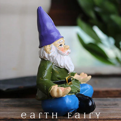 Yoga Gnome, Side View, from The Miniature Fairy Garden Gnome Figurine Collection by Earth Fairy