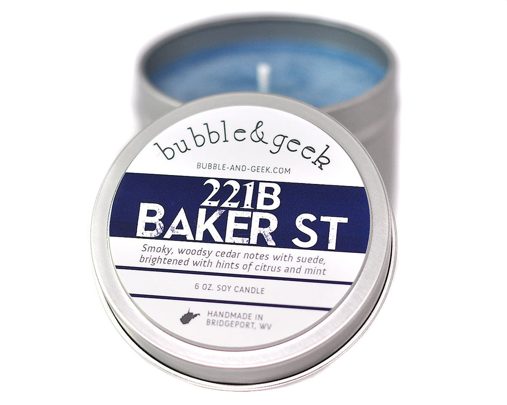 221B Baker Street Scented Soy Candle Tin