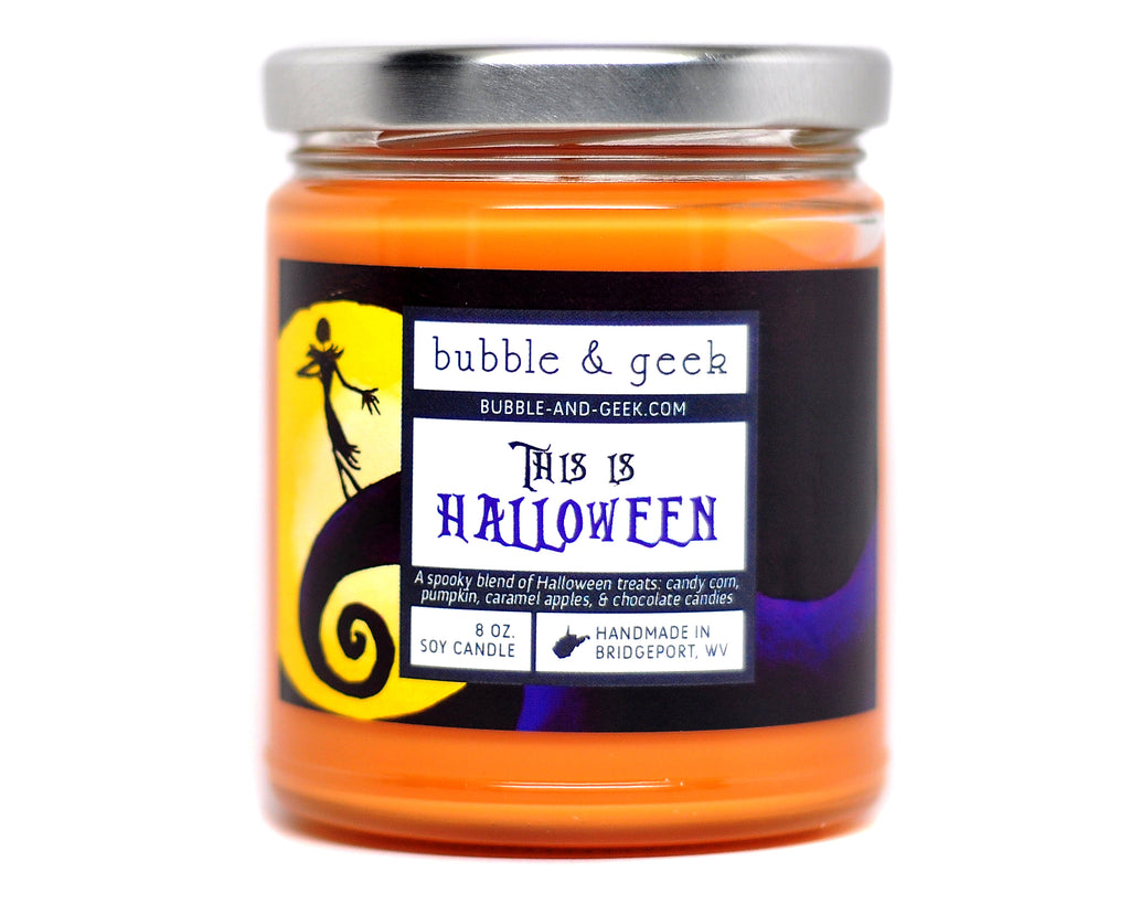 This Is Halloween Scented Soy Candle Jar Bubble And Geek