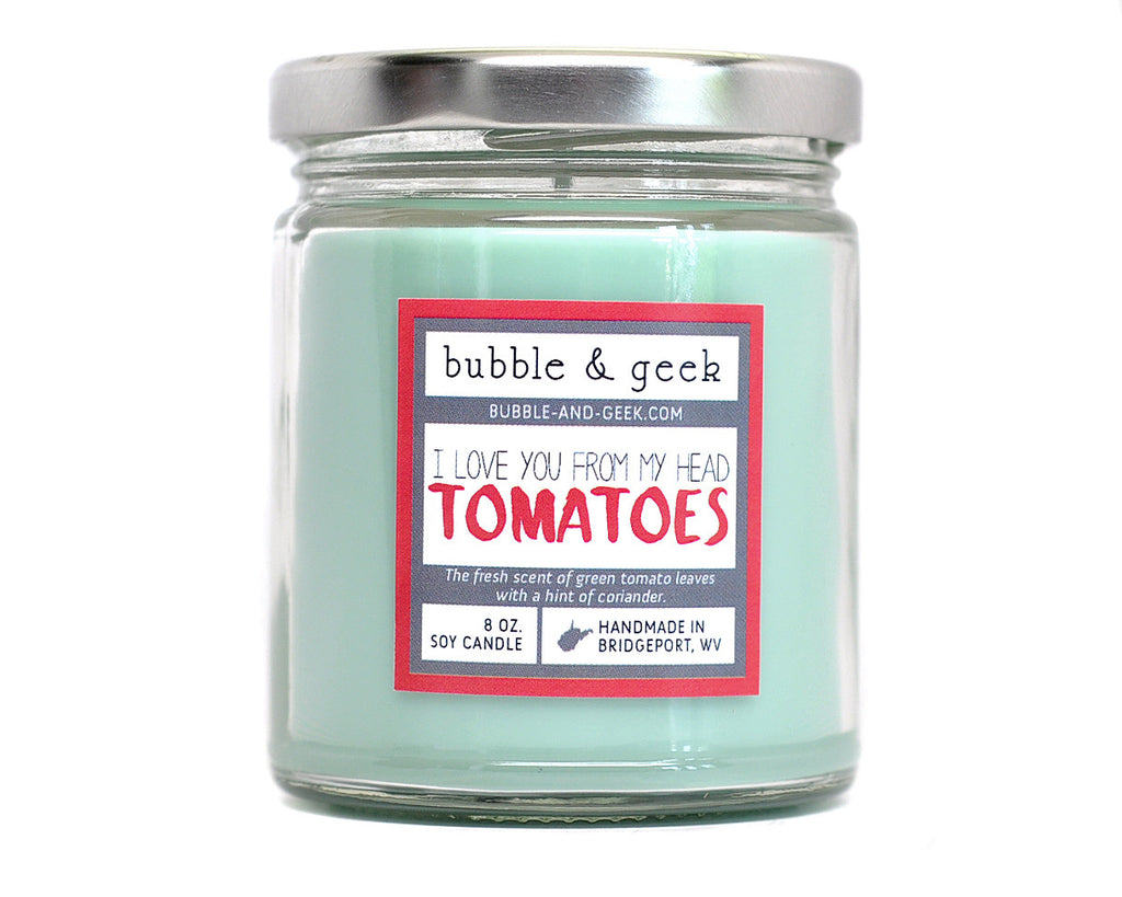I Love You From My Head Tomatoes Scented Soy Candle Jar