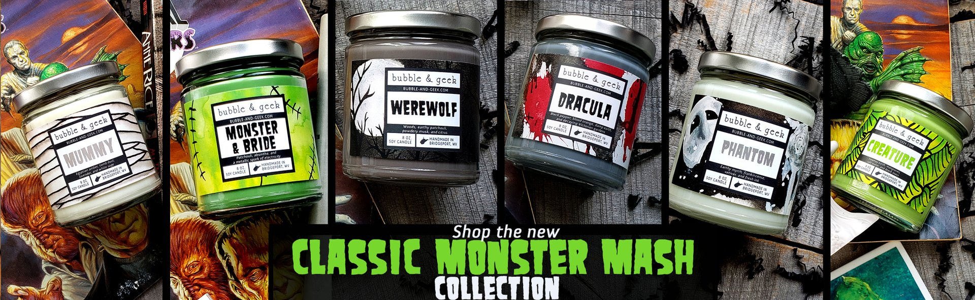 Shop the Classic Monsters scent collection from Bubble and Geek