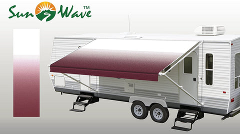 "SunWave Awning Fabric Burgundy Fade 18' (approximate Fabric Width 17' 2-3"")"