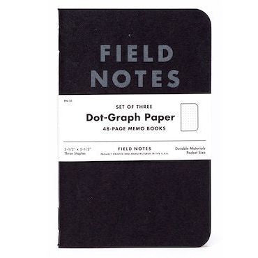 Field Notes Pitch Black Dot Graph 3-Pack