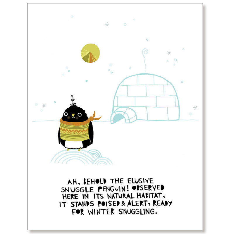 Snuggle Penguin - Greeting Card