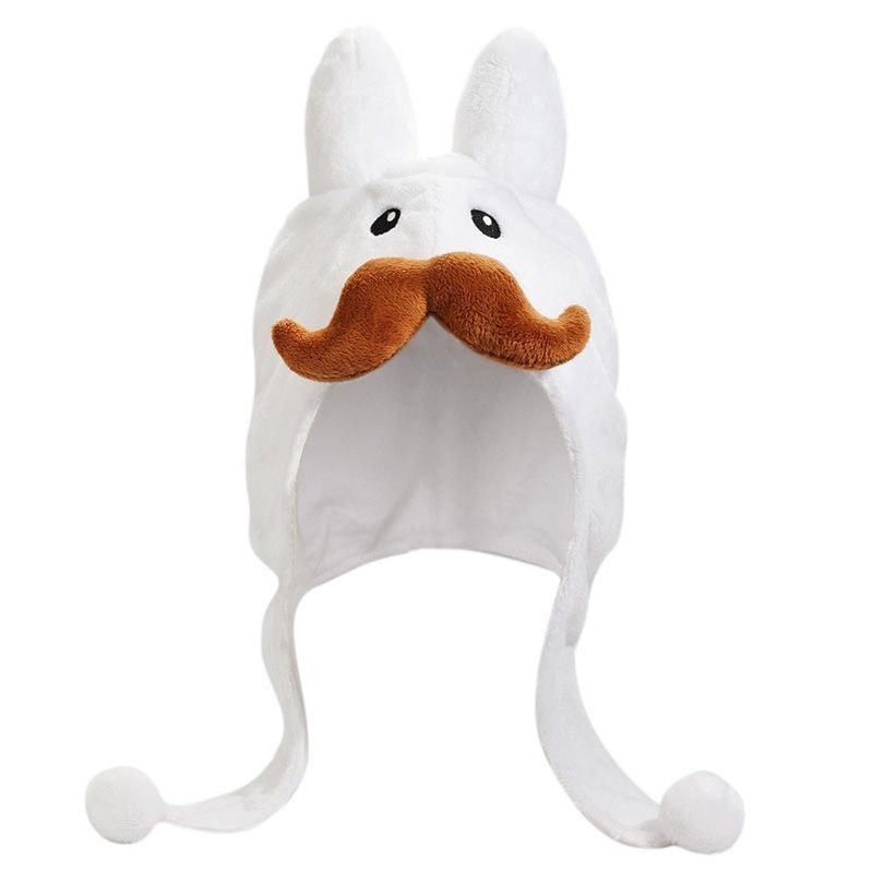 White Stache Labbit Hat