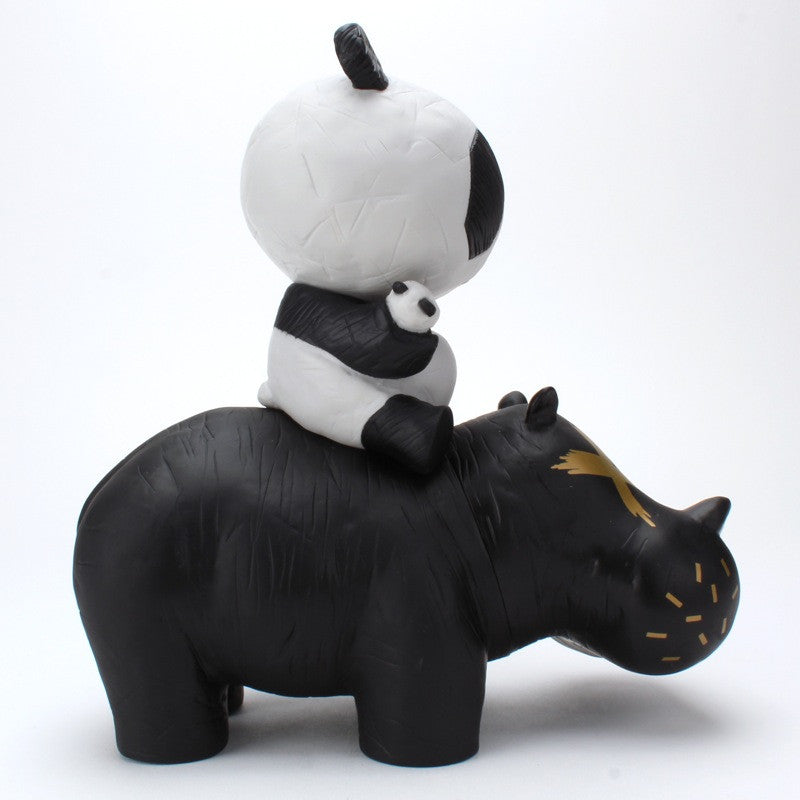 Panda Riding A Hippo (P.R.A.H) - Black
