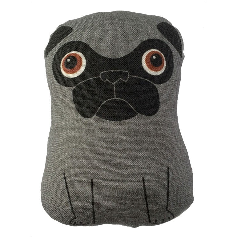 Dark Silver Pug - Small Plush