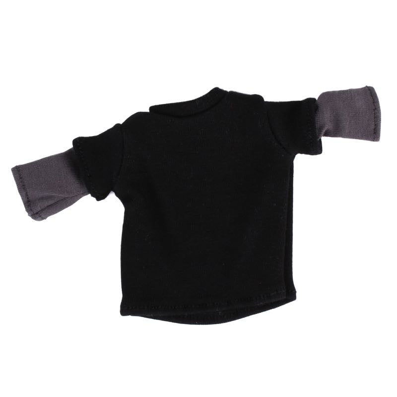 Black Tee with Grey Sewn-in Sleeves for 6