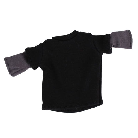 "Black Tee with Grey Sewn-in Sleeves for 6"" Squadt"
