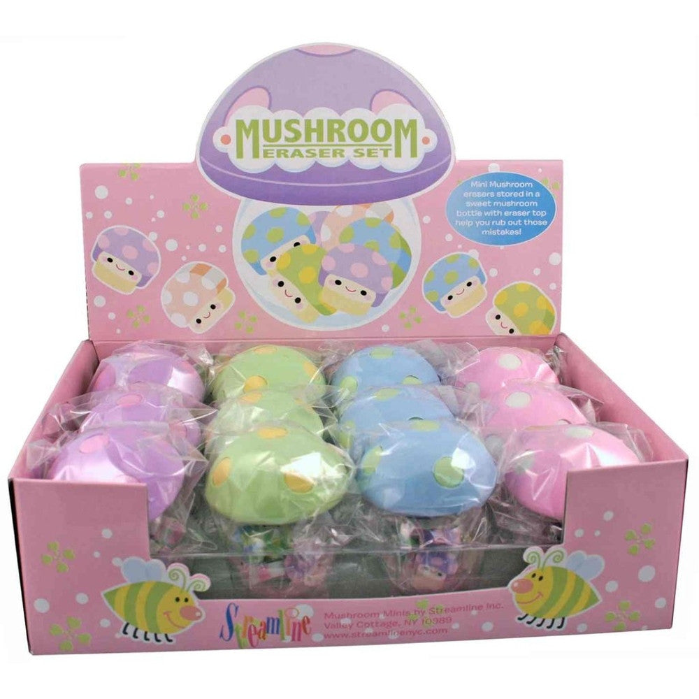Mushroom Pot & Eraser Set - Random Assortment