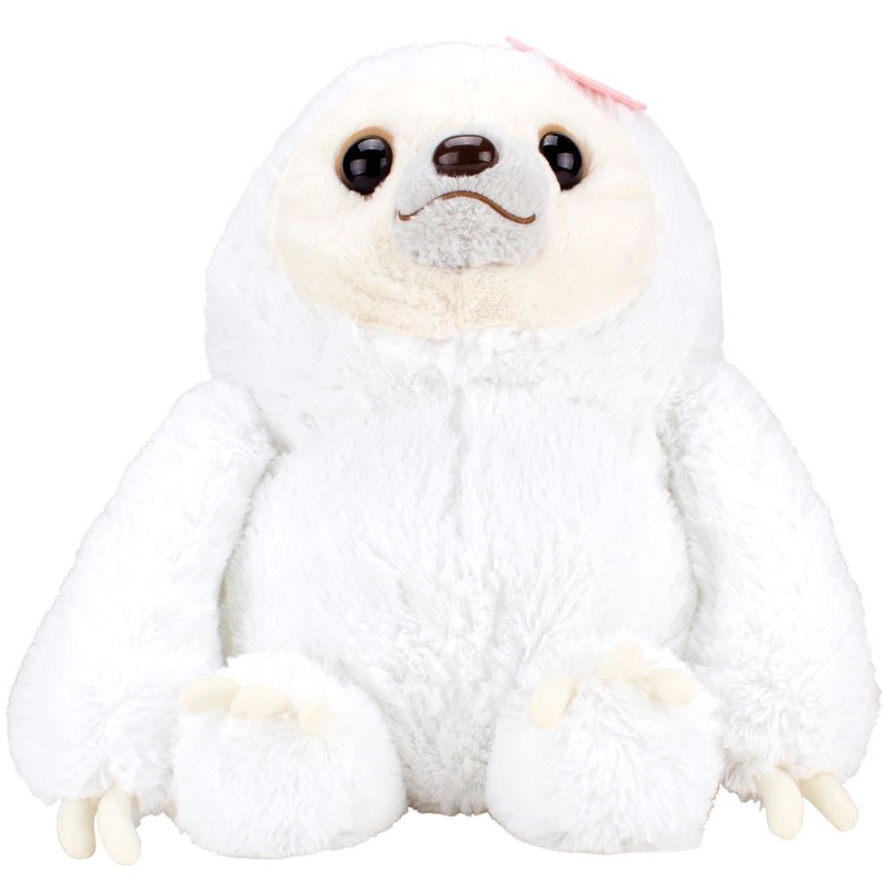Namakemono no Mikke & Friends Large Sloth Plush - White with Flower