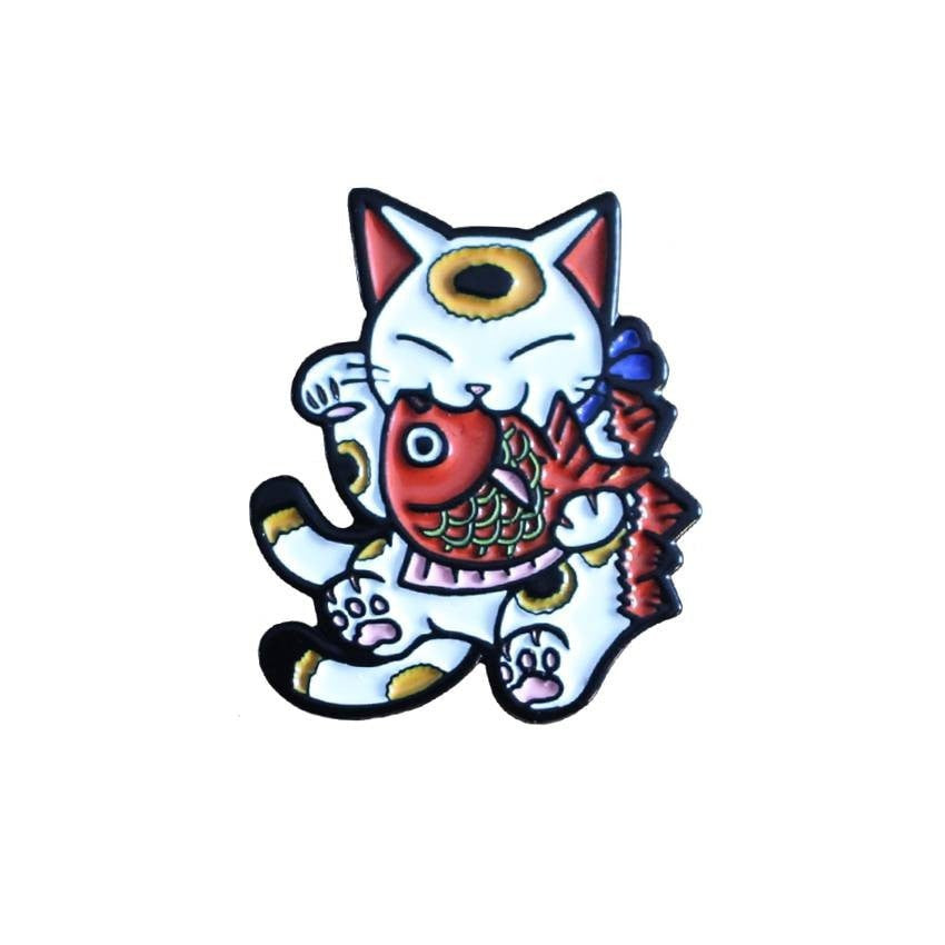 Negora and Koi Enamel Pin (White and Red) by Konatsu