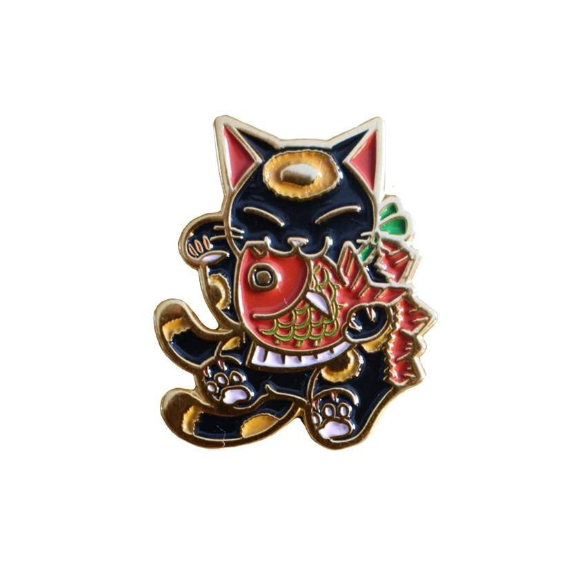 Negora and Koi Enamel Pin (Black and Red) by Konatsu