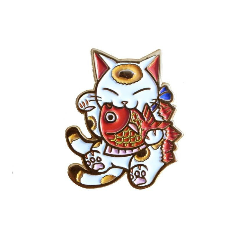 Negora and Koi Enamel Pin (White and Gold) by Konatsu