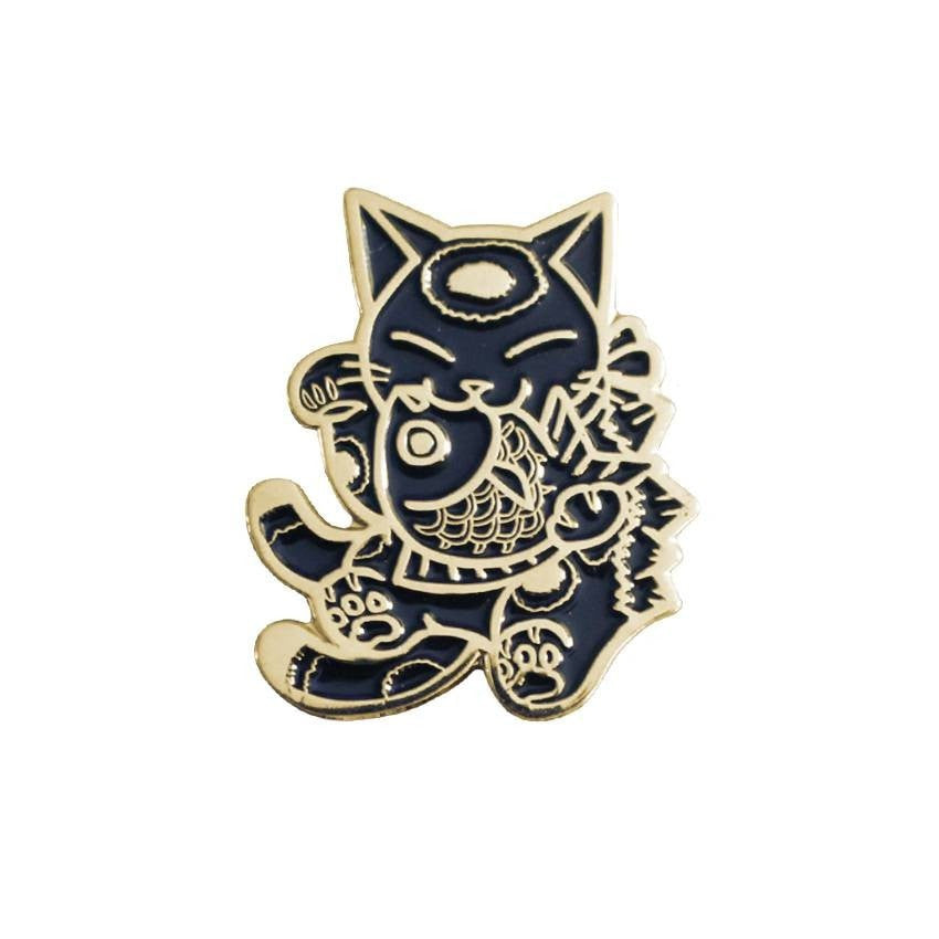 Negora and Koi Enamel Pin (Black and Gold) by Konatsu