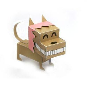 Dog DIY Paper Toy Postcard #016