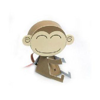 Monkey DIY Paper Toy Postcard #018