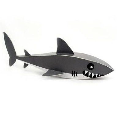 Shark DIY Paper Toy Postcard #026