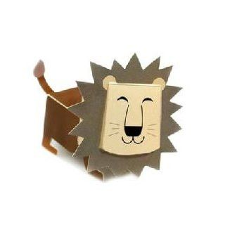 Lion DIY Paper Toy Postcard #031