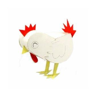 Rooster DIY Paper Toy Postcard #116