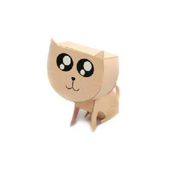 Cat DIY Paper Toy Postcard #017
