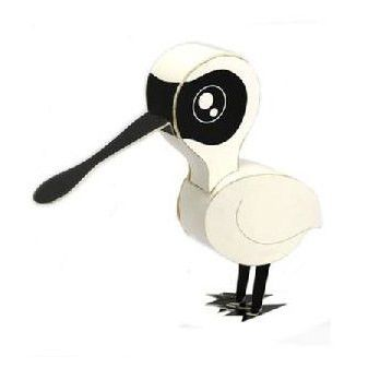 Black Faced Spoonbill DIY Paper Toy Postcard #119