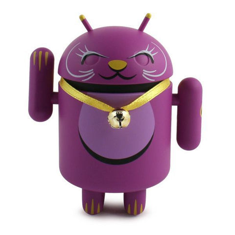 Android Lucky Cat - Purple with Bell Collar