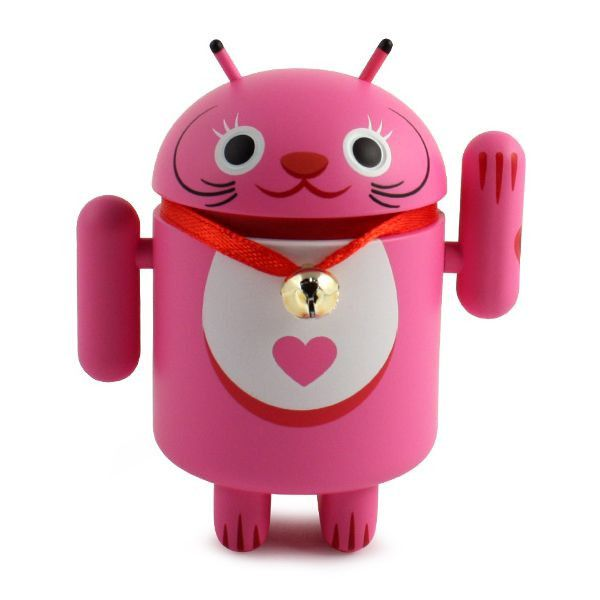 Android Lucky Cat - Pink with Bell Collar