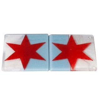 Chicago Flag Coaster 2 Pack - Handmade Fused Glass