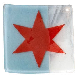 Chicago Flag Catch-All  - Handmade Fused Glass