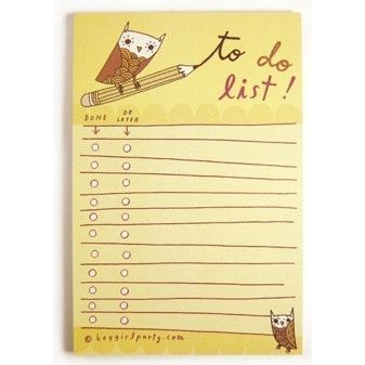 Yellow Owl To-Do List by boygirlparty