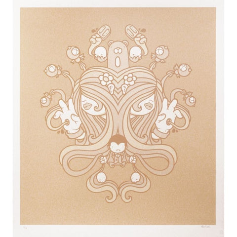 Untitled (Tan Psych) Screenprint by Mike Budai