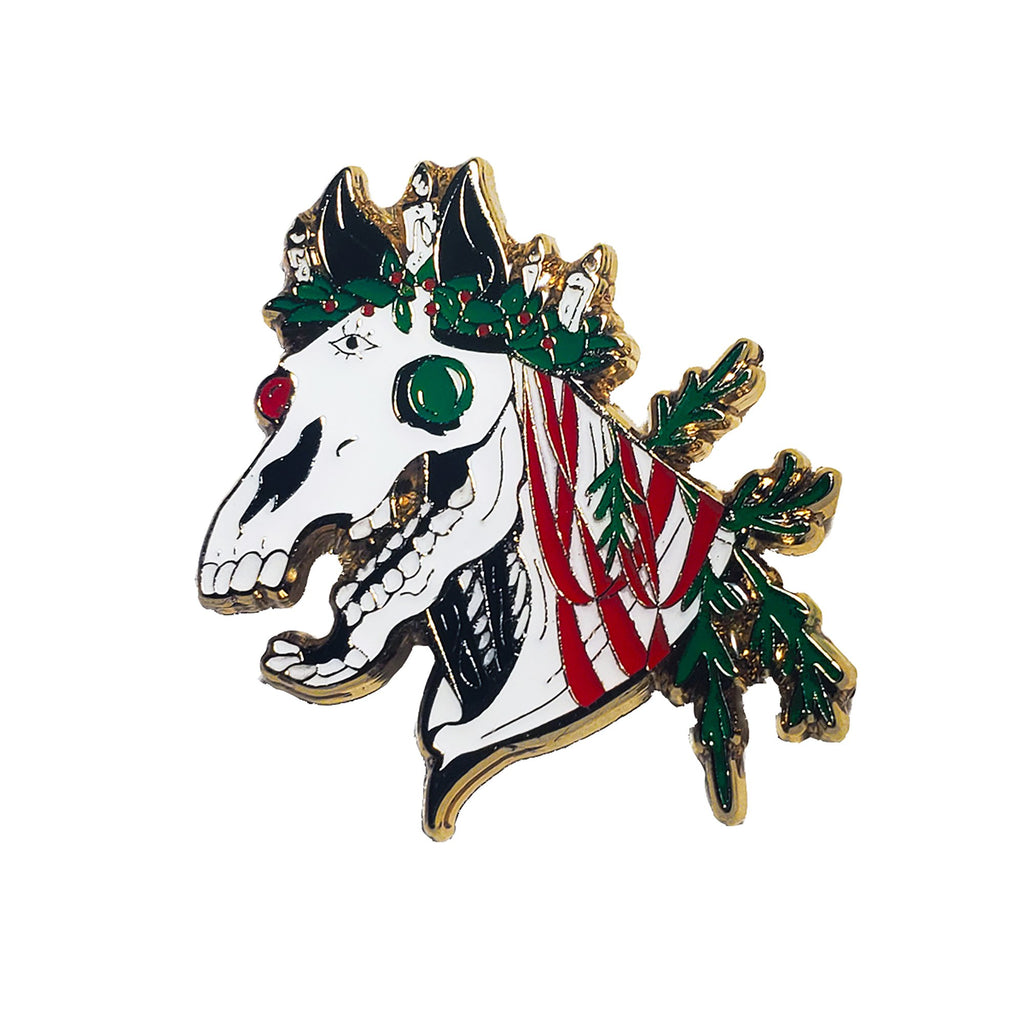Mari Lwyd Enamel Pin by Wikki Nicks Illustration
