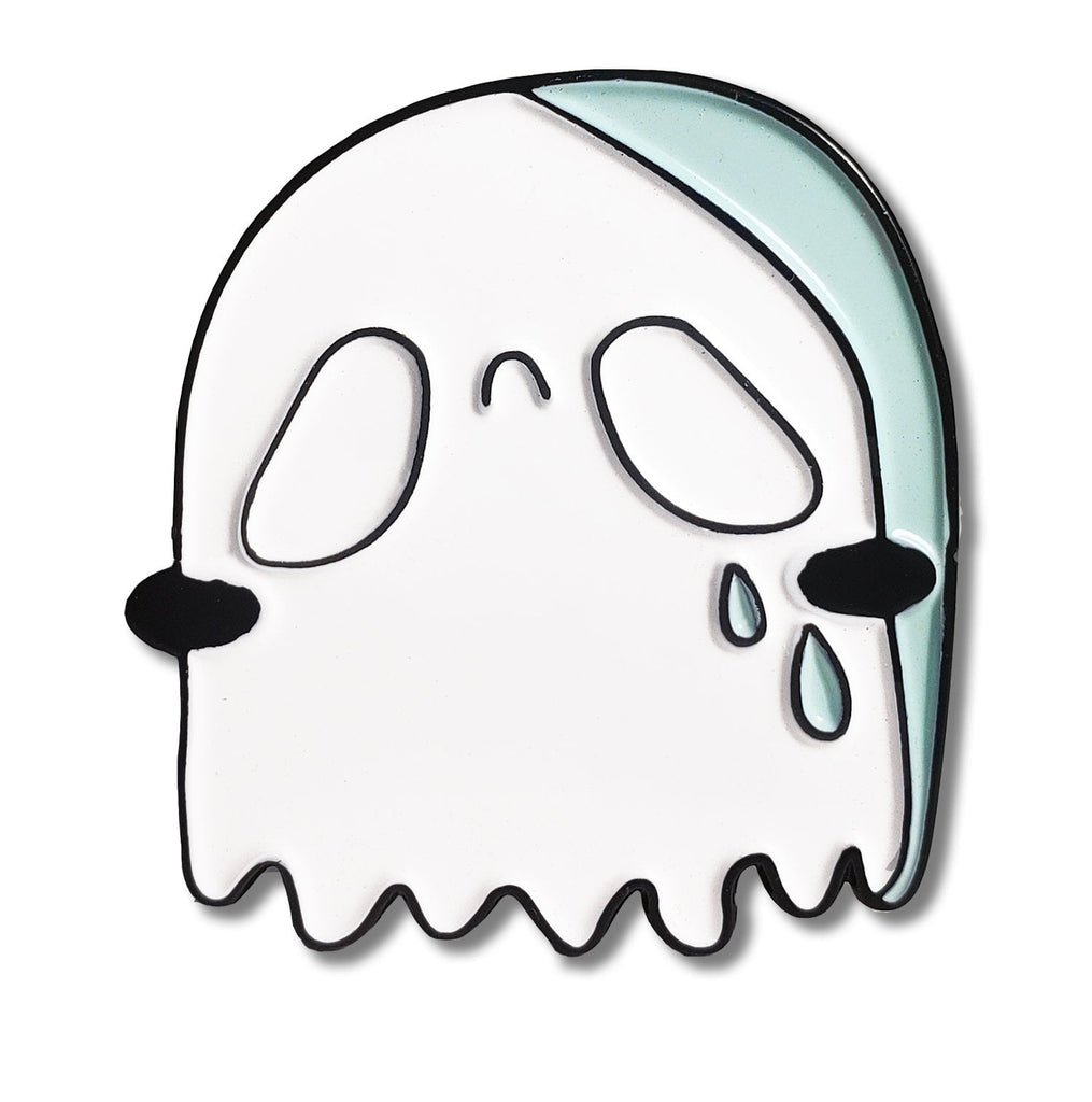 Sad Ghost Enamel Pin by Wikki Nicks Illustration
