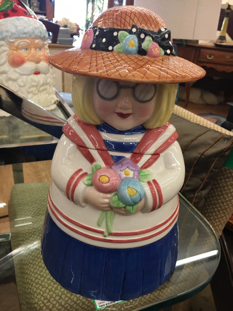 1999 ANN ESTELLE Mary Engelbreit COOKIE JAR Michel & Co  Holiday