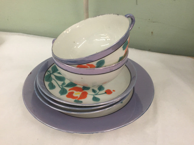 2 Cups and Saucers  Made in Japan Elite  Purple Hand Painted Flower  Lusterware - Jarred's Homegoods / Treasure Brokers  - 1