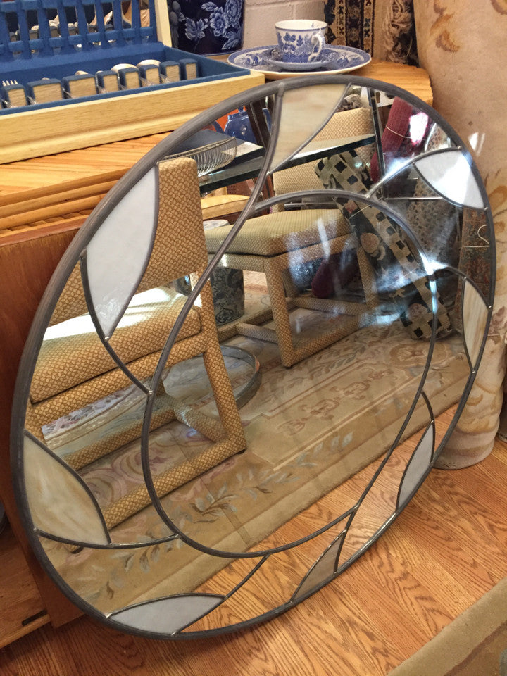 "36"" Round Mid Century Stained Glass Mirror Napoleon Setti - Jarred's Homegoods / Treasure Brokers"