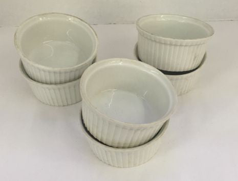 (6) Pillivuyt 713 France Pleated Ramekin Souffle Porcelain Dishes Custard Baking - Jarred's Homegoods / Treasure Brokers  - 1