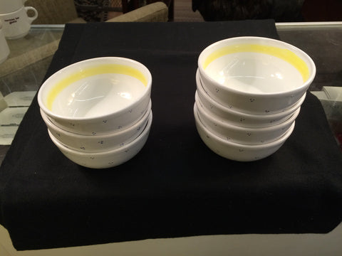 (7) Made in Italy for William Sonoma Bowls Yellow Strip and Blue Dots - Jarred's Homegoods / Treasure Brokers  - 1