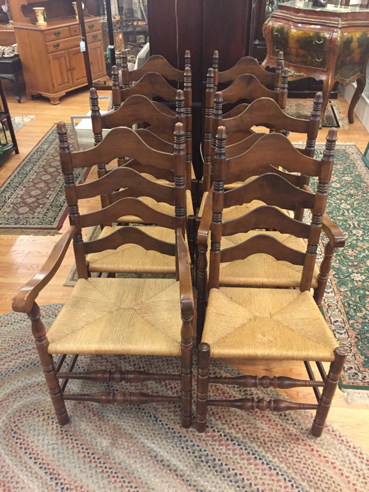 8 Maple Rush Seat Ladder Back Chairs (6 Side, 2 Arm).