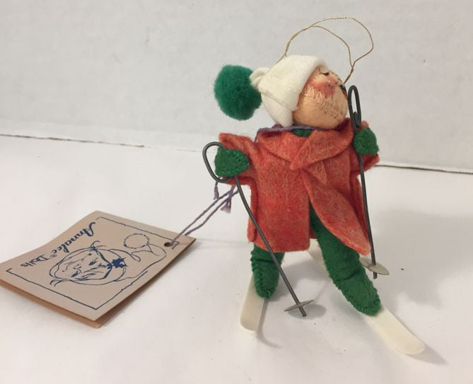 Annalee 1991 Skiing Elf Ornament Holiday