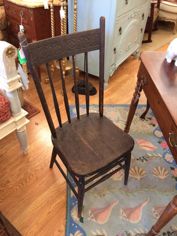 Antique Black Stain Spindle Back Chair - Jarred's Homegoods / Treasure Brokers  - 1