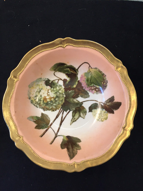 Antique Hand Painted Hydragea Serving Bowl O. & E.G. Austria Boule de Neige - Jarred's Homegoods / Treasure Brokers  - 1