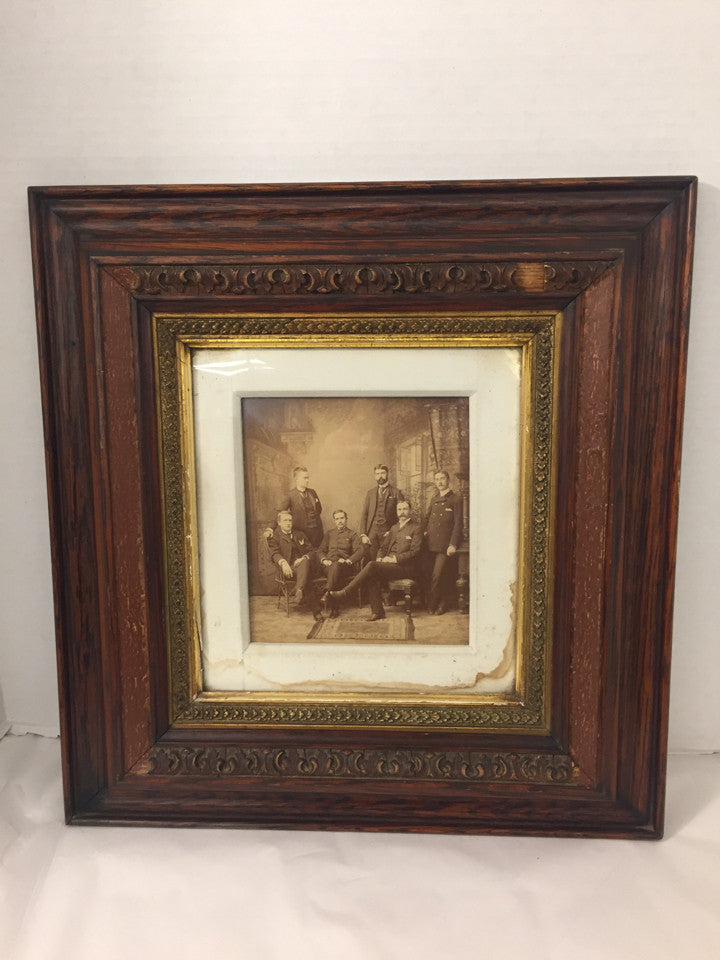 Antique Solid Wood Frame - Gold Inside Circa 1920 World War I Officer Reunion