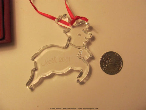Holiday Baccarat 2001 Annual Noel Reindeer Ornament Signed Crystal