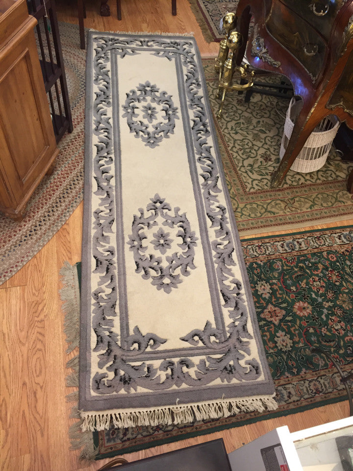 "Bengal Ivory/Black 2' 6"" x 8' Long Runner   100% Wool  Made in India"