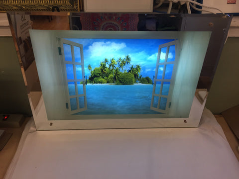 Beveled Mirror Frame Illuminated Tropical View  Motion Picture - Jarred's Homegoods / Treasure Brokers