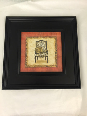 Black Frame Zebra Chair Print - Jarred's Homegoods / Treasure Brokers